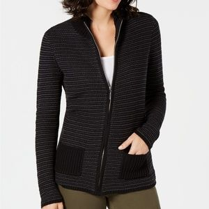 Karen Scott Textured Zip-Front Cardigan PM